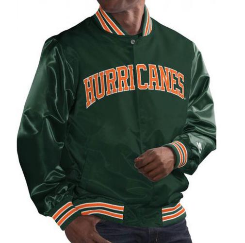 Miami Hurricanes Bomber Green Satin Jacket