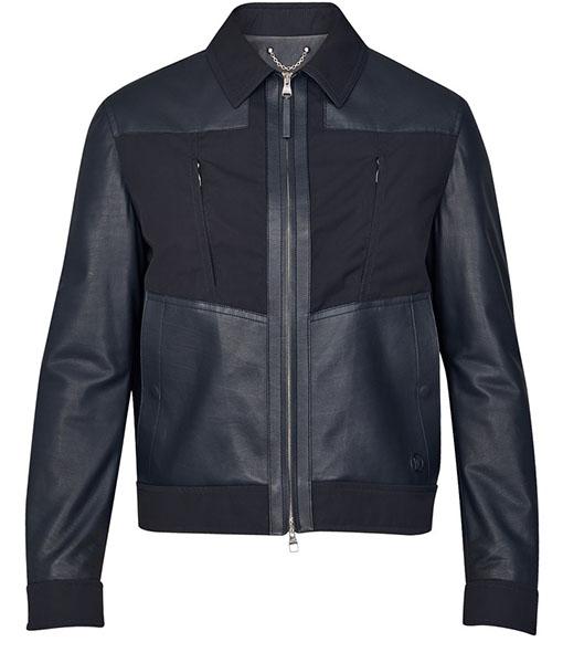 Mixed Bomber Black Leather Jacket
