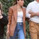 NYC Sophias Anna Bush Brown Leather Blazer
