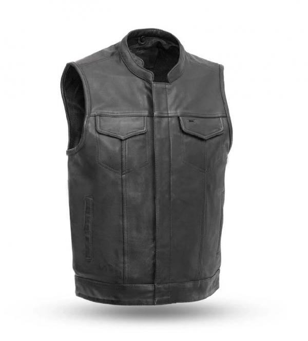 Sharp Shooter Black Leather Vest