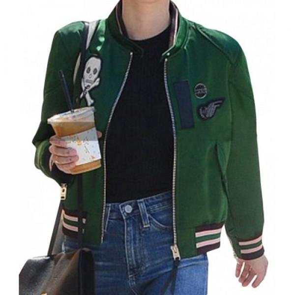 Singer Emma Roberts Bomber Satin Jacket
