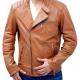 Slims Tan Biker Leather Jacket