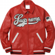Supreme Uptown Studded Red Varsity Leather Jacket
