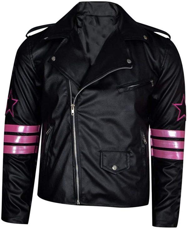 The Jasperz Hitman Bret Hart Back Skull Embroidery Wrestler Leather Jacket