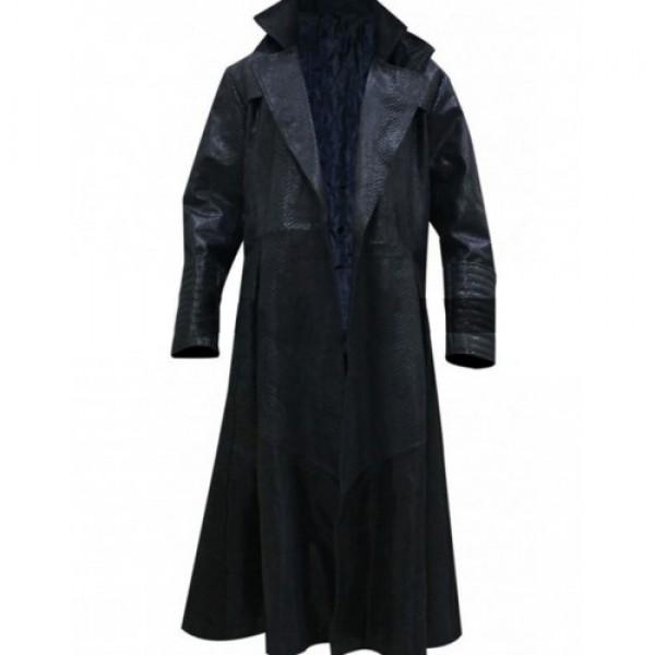The Matrix Laurence Fishburne Alligator Morpheus Leather Costume Coat