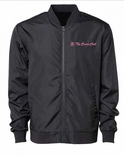The Overs Club Bomber Black Satin Jacket