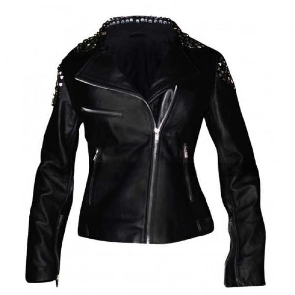 WWE Paige Nxt Black Studded Leather Ladies Jacket
