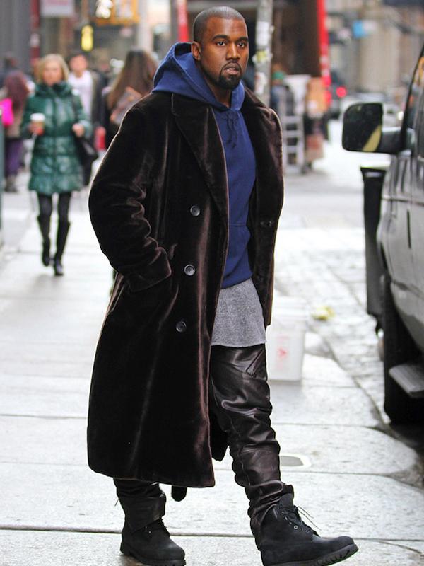 American Rapper Kanye West Brown Long Wool Coat