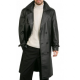 Augustas Guys Double Breasted Leather Overcoat