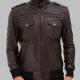 Brians Bomber Dark Brown Leather Jacket