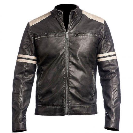 Cafe Racer Black Slim Fit Biker Vintage Leather Jacket