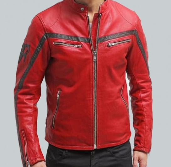 Columbus Red Motorcycle Leather Jacket