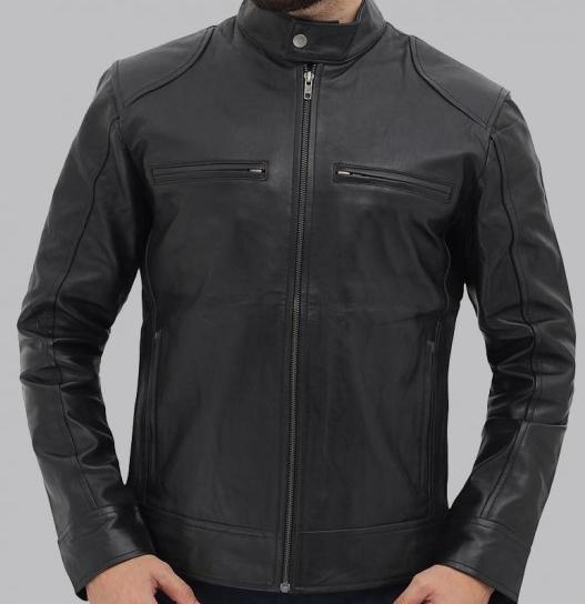 Dodge Black Racer Leather Jacket