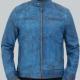 Dodge Cafe Racer Sky Blue Leather Jacket