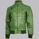 Expressive Green Bomber Leather Jacket