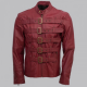 Maroon Belted Style Leather Jacket