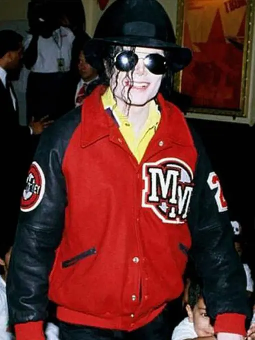 Michael Jackson Mickey Mouse Red Varsity Jacket