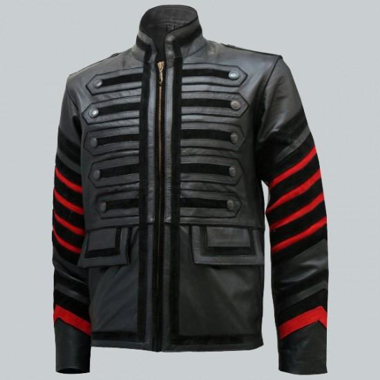 Military Style Fashion Black Leather Jacket