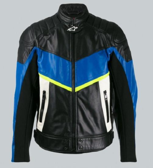 Panelled Color Biker Leather Jacket