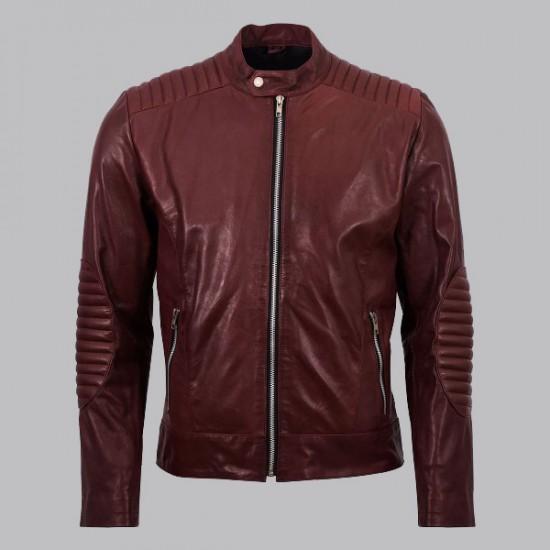 Rupal Maroon Mens Custom Motorcycle Leather Jacket