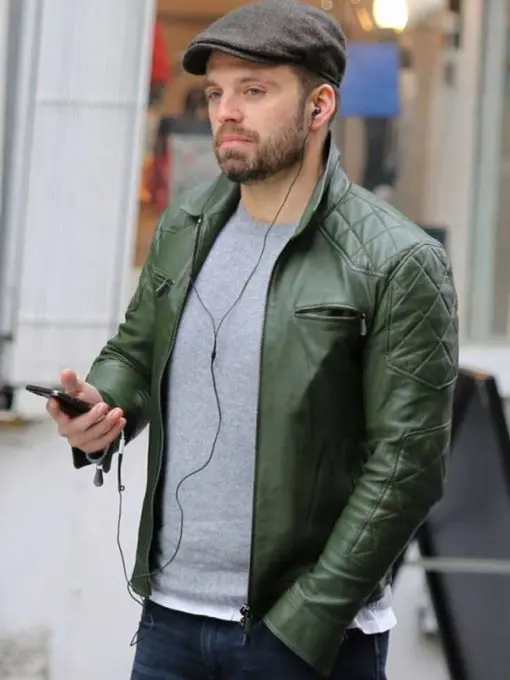 Sebastian Stan Green Quilted Leather Jacket