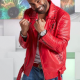 Singer Ginuwine Studded Red Leather Jacket