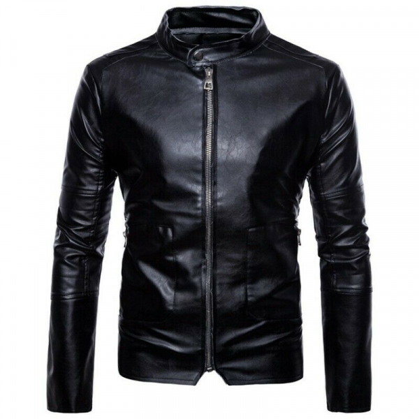 Slims Fit Stand Collar Motorcycle Leather Jacket