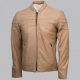 Stripes Beige Fashion Leather Jacket