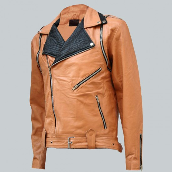 Tan And Black Draped Leather Jacket
