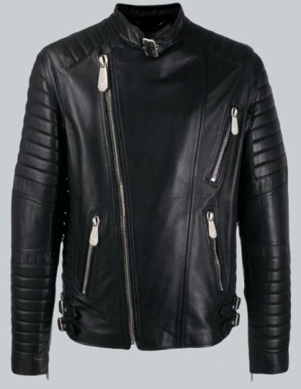 Trendy Black Color Biker Leather Jacket