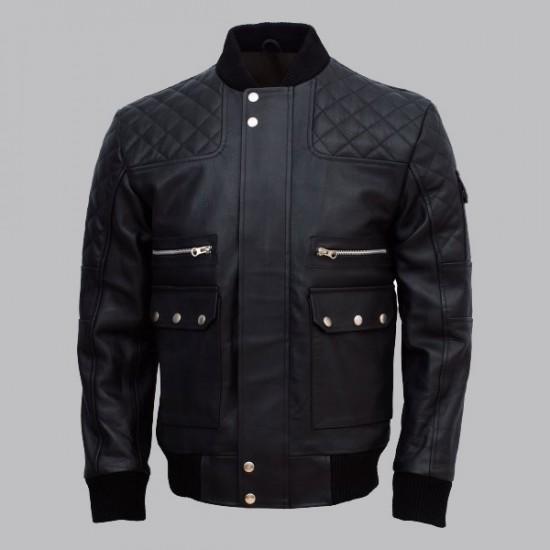 Work Wear Black Bomber Leather Jacket