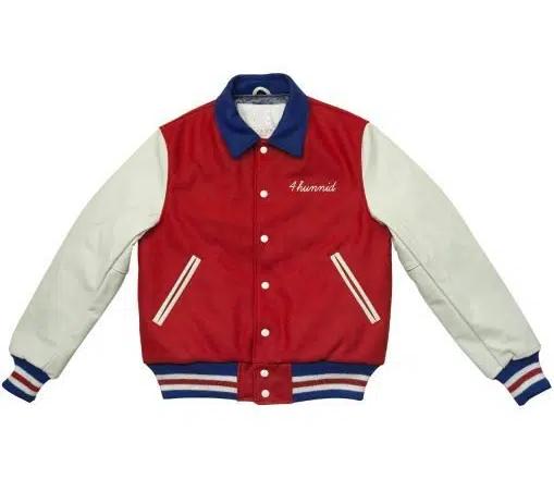 4hunnid Kut Red And White Bomber Varsity Jacket