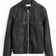 Alex Mill Field Black Tumbled Leather Jacket