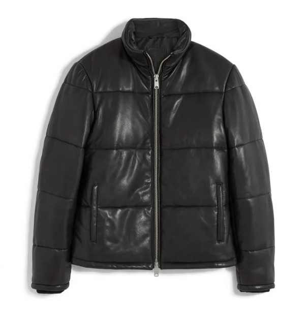 Allsaints Coronet Black Puffer Leather Jacket