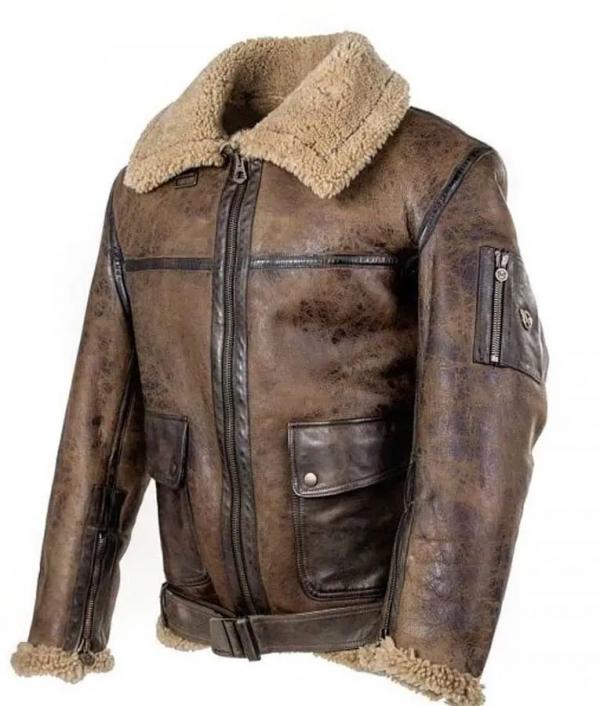 Arnold Schwarzenegger Aviator Raf B6 Shearling Leather Jacket