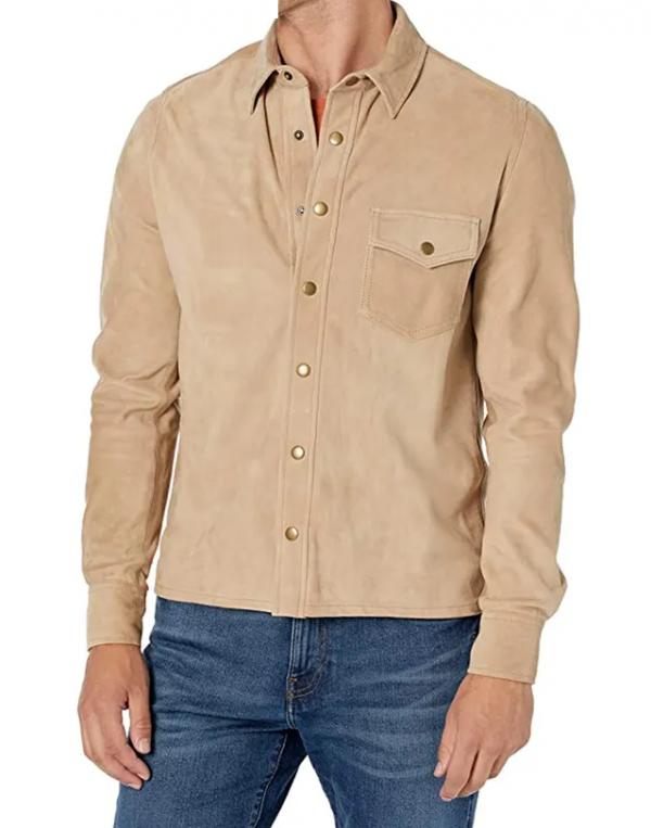 Billy Reid Antique Brass Snap Suede Leather Jacket