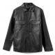 COS Flannel Overshirt Black Leather Jacket