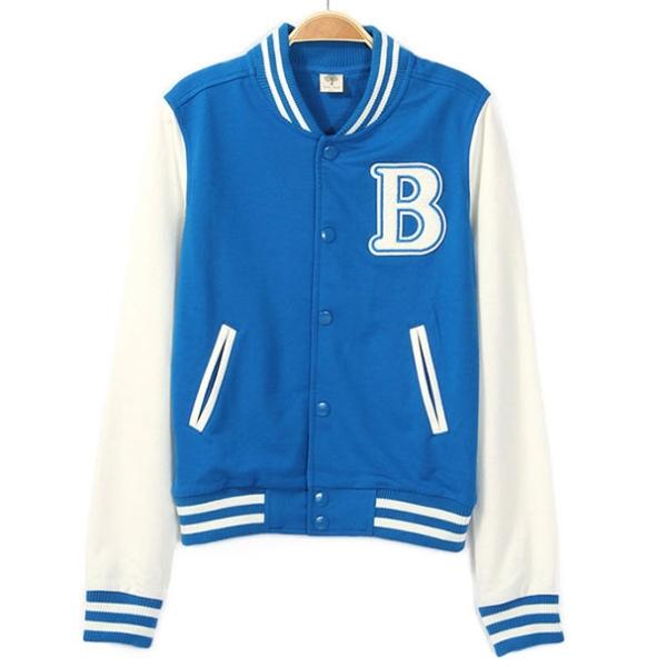 Wonho BLUE B Letter MV Varsity Jacket